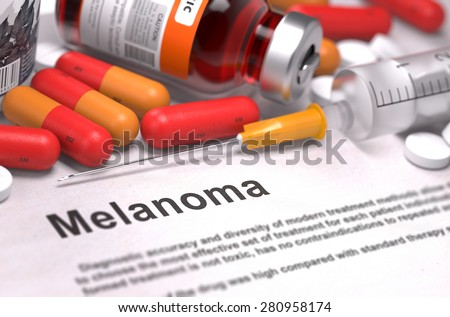 Melanoma - Printed Diagnosis with Blurred Text. On Background of Medicaments Composition - Red Pills, Injections and Syringe. - stock photo