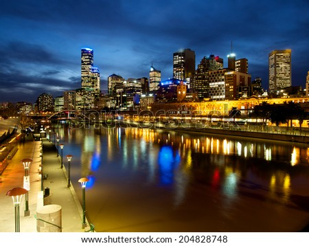 melbourne and the yarra river on a winters night - stock photo