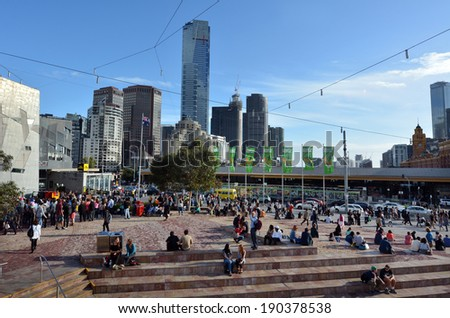 MELBOURNE - APR 13 2014:General vie of Federation Square.It located at the heart of MelbourneÃ?Â??s CBD with size of an entire city block.It's home to major cultural attractions and world-class events. - stock photo