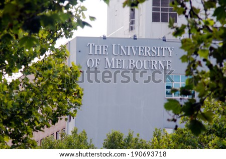 MELBOURNE - APR 14, 2014:The faced of University of Melbourne.Four Australian prime ministers,five governors-general, seven Nobel laureates have been students, faculty and graduated from Melbourne. - stock photo