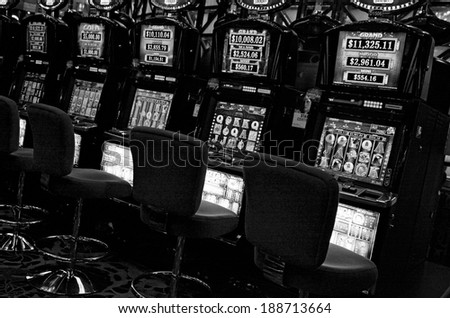 MELBOURNE, AUS - APR 11 2014:Empty Gamble machines at Crown Casino and Entertainment Complex, Melbourne.It's the largest casino complex in the Southern Hemisphere and one of the largest in the world. - stock photo