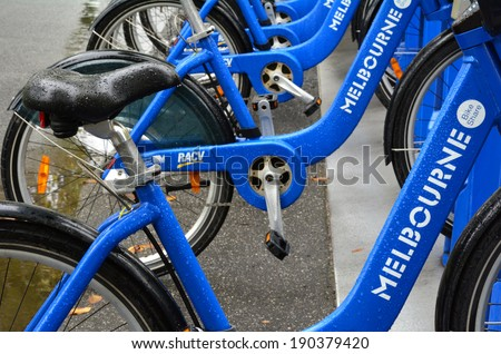MELBOURNE, AUS - APR 10 2014:Melbourne Bike Share.With 600 bicycles operating from 51 stations. Melbourne Bike Share is one of two such systems in Australia. - stock photo