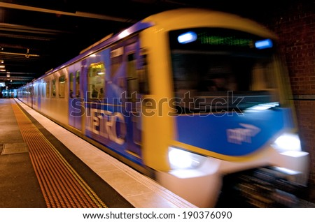 MELBOURNE, AUS - APR 11 2014:Metro Trains Melbourne.It travels over 30 million Km and service more than 228 million customers a year and carries over 415,000 passengers each weekday. - stock photo