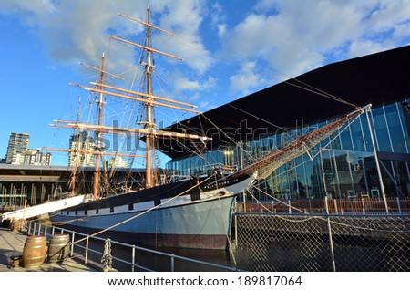MELBOURNE, AUS - APR 14 2014:Polly Woodside. It's an iron-hulled, three-masted barque currently forming the major attraction of the Melbourne Maritime Museum. - stock photo