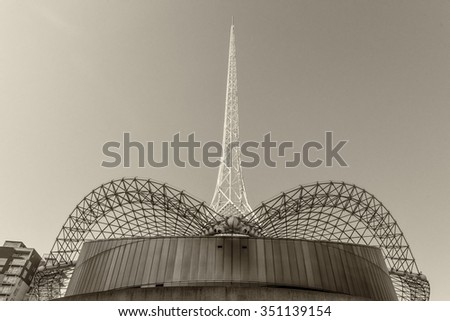 MELBOURNE, AUS - OCTOBER 10, 2015: Structure of Arts Centre Melbourne. It's the flagship of the performing arts in Victoria and focal point of the cultural precinct - stock photo