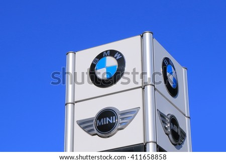 MELBOURNE AUSTRALIA - APRIL 24, 2016: BMW Mini Cooper car manufacturer.  German for Bavarian Motor Works, known as BMW is a German luxury vehicles and motorcycle manufacturing company founded in 1916  - stock photo