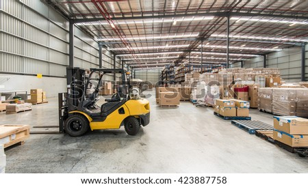 Melbourne, Australia - April 15, 2016:Interior of warehouse. A warehouse is a commercial building for storage of goods.