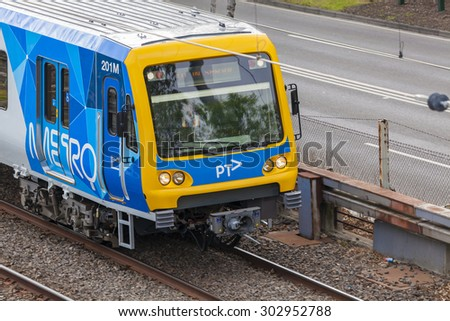 Melbourne, Australia - Aug 2, 2015: Close-up view of a train operated by Metro Trains Melbourne. It is an operator of the suburban railway network of Melbourne, Australia. - stock photo