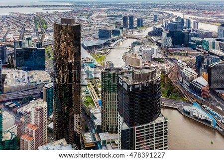 Melbourne, Australia - August 27, 2016:  Aerial view of Melbourne CBD with skyscrapers and yarra river winding through.
