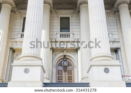 Melbourne, Australia - August 28, 2015: Exterior of the Parliament of Victoria in Melbourne, Australia during daytime.