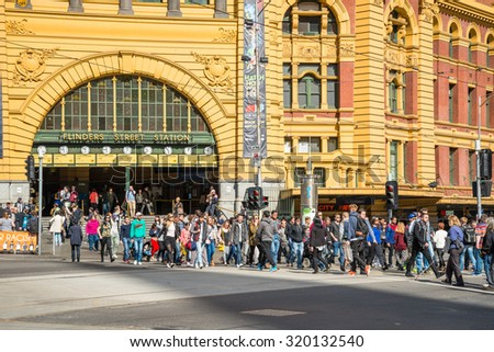 Melbourne, AUSTRALIA - AUGUST 22 2015: Flinders street station the iconic of Melbourne, Australia. - stock photo