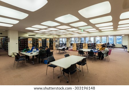 Melbourne, Australia - August 2, 2015: law library at the Monash University School of Law at the Clayton campus of Monash University. The law faculty is one of the top-rated in Australia.