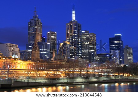 MELBOURNE AUSTRALIA - AUGUST 23, 2014: Melbourne skyline night - Melbourne was crowned the most liveable city 2013 in the Economist Intelligence Unit Survey.  - stock photo