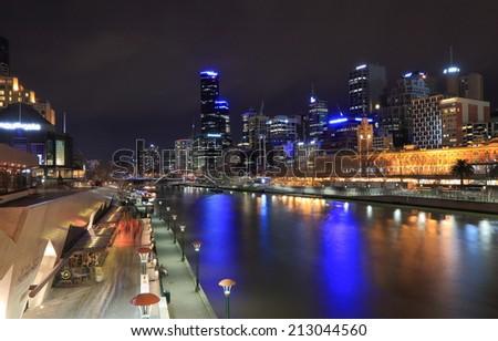MELBOURNE AUSTRALIA - AUGUST 23, 2014: Melbourne skyline night - Melbourne was crowned the most liveable city 2013 in the Economist Intelligence Unit Survey.  - stock photo