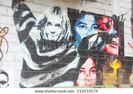 MELBOURNE, AUSTRALIA - AUGUST 29TH, 2014: Street art by unidentified artist. Melbourne local councils recognise the importance of street art in creating a vibrant city. - stock photo