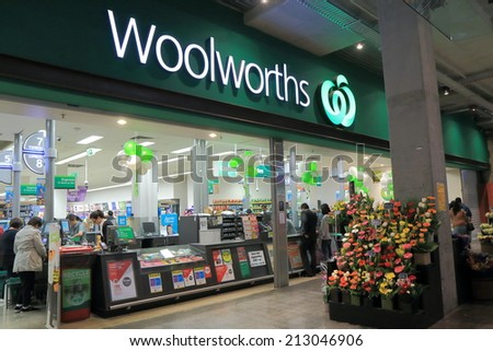 MELBOURNE AUSTRALIA - AUGUST 23, 2014: Unidentified people shop at Woolworths Supermarket - Woolworths is the largest supermarket chain in Australia.
