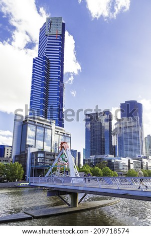 MELBOURNE, AUSTRALIA - CIRCA JAN 2014: Melbourne Skyscrapers. Melbourne was crowned the most liveable city 2013 in Economist Intelligence Unit Survey.