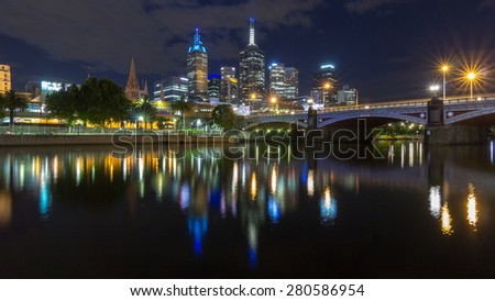 Melbourne Australia city beautiful skyline panorama and Princes bridge with Reflection at night