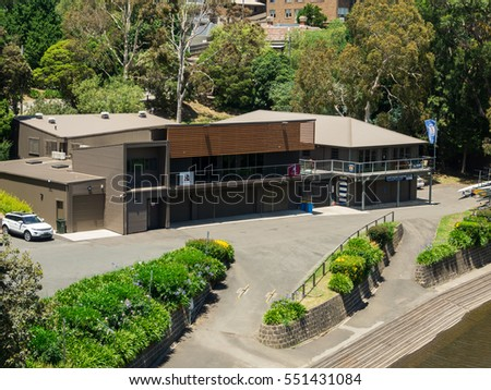 Melbourne, Australia - December 15, 2016: facilities of the Hawthorn Rowing Club on the banks of the Yarra River in the inner suburb of Hawthorn.
