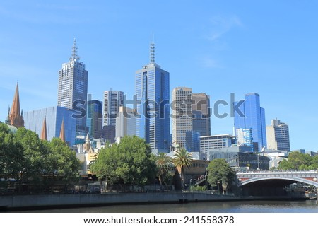 MELBOURNE AUSTRALIA - DECEMBER 31, 2014: Melbourne cityscape. Melbourne is famous for its modern and artistic architectures.