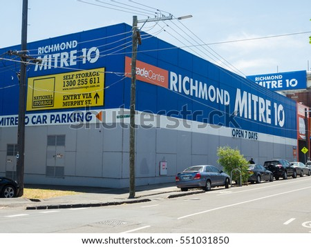 Melbourne, Australia - December 15, 2016: MItre 10 is a chain of more than 350 co-operative hardware and building supply stores in Australia.  This is the Richmond store in inner suburban Melbourne.