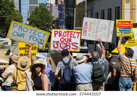 MELBOURNE/AUSTRALIA - FEBRUARY 9: Anti CSG protesters gather outside Parliament house in Melbourne to rally against Coal Seam Gas mining on February 9 - coinciding with the opening of Parliament.