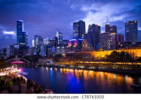 MELBOURNE, AUSTRALIA - FEBRUARY 22,2014: Melbourne's White Night attracted more than 500,000 visitors to the city centre and lit up its buildings as works of art  - stock photo