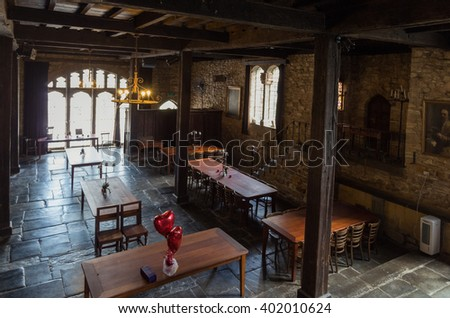Melbourne, Australia - February 14, 2016: Montsalvat is an artist colony in Eltham on Melbourne's north-eastern outer fringe. The lower level of the Great Hall is set up for banquets.