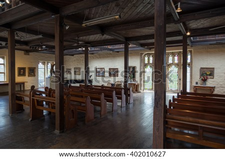 Melbourne, Australia - February 14, 2016: Montsalvat is an artist colony in Eltham on Melbourne's north-eastern outer fringe. The upper level of the Great Hall serves as a gallery and wedding venue.
