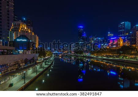 Melbourne Australia February 21 2015 Night time HDR Melbourne skyline reflections in the Yarra River