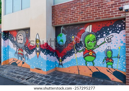MELBOURNE, AUSTRALIA - February 8, 2015: street art by an anonymous artist in the inner city suburb of Collingwood, a formerly working class part of Melbourne.
