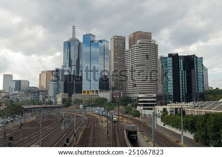MELBOURNE, AUSTRALIA - February 15, 2014: the eastern end of the Melbourne central business district (or downtown) area.