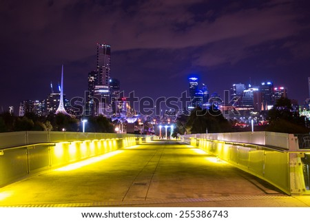 Melbourne, Australia - February 21 - The Melbourne skyline from Birrarung Marr during White Night on February 21st 2015.