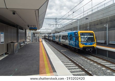 MELBOURNE, AUSTRALIA - February 15, 2014: The new railway station in the Melbourne suburb of Mitcham, completed in January 2014 following the removal of a level crossing. - stock photo