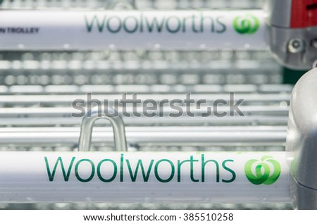Melbourne, Australia - February 28, 2016: Woolworths is an Australian supermarket and grocery store chain with more than 900 sites, including this store in Springvale in suburban Melbourne. - stock photo