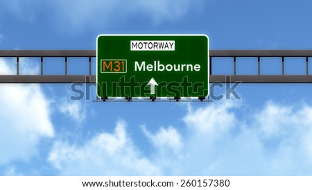 Melbourne Australia Highway Road Sign - stock photo