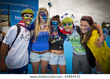 MELBOURNE, AUSTRALIA - JANUARY 26: A group of Australian supporters outside the Rod Laver Arena which holds the center court at the Australian Open, January 26, 2011 in Melbourne, Australia