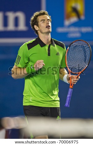 MELBOURNE, AUSTRALIA - JANUARY 28: Andy Murray(GBR)[5] who defeated David Ferrer(ESP)[7] at the Australian Open on January 28, 2011 in Melbourne, Australia