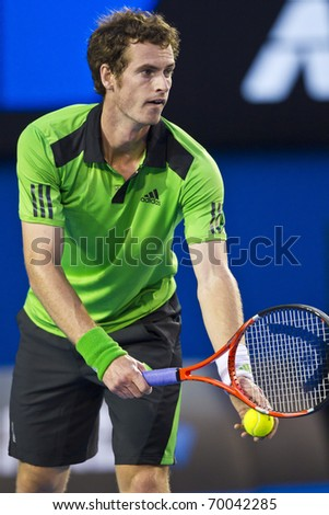 MELBOURNE, AUSTRALIA - JANUARY 28: Andy Murray(GBR)[5] who defeats David Ferrer(ESP)[7] at the Australian Open on January 28, 2011 in Melbourne, Australia - stock photo