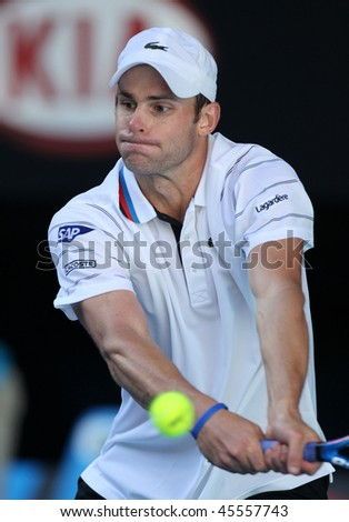 MELBOURNE, AUSTRALIA - JANUARY 26: Andy Roddick in his quarter final loss to Maran Cilic during the 2010 Australian Open on January 26, 2010 in Melbourne, Australia - stock photo