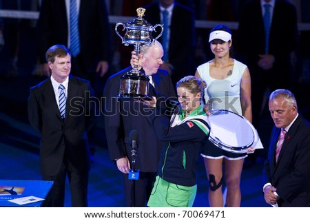 MELBOURNE, AUSTRALIA - JANUARY 29: Australian Open Women's Final, Kim Clijsters(BEL)[3] who defeated Na Li(CHN)[9] on January 29, 2011 in Melbourne, Australia