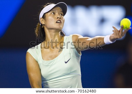 MELBOURNE, AUSTRALIA - JANUARY 29: Australian Open Women's Final, Na Li(CHN)[9] who was defeated by Kim Clijsters(BEL)[3] on January 29, 2011 in Melbourne, Australia - stock photo