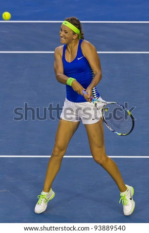 MELBOURNE, AUSTRALIA - JANUARY 28: Australian Open Women's Final, Victoria Azarenka of Belarus who defeated Maria Sharapova of Russia on January 28, 2012 in Melbourne, Australia - stock photo