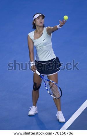 MELBOURNE, AUSTRALIA - JANUARY 29: Australian Open Womens Final,  Na Li(CHN)[9] who was defeated by Kim Clijsters(BEL)[3] on January 29, 2011 in Melbourne, Australia - stock photo