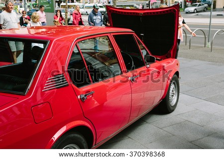 MELBOURNE/AUSTRALIA - JANUARY 31: Car enthusiasts display their cars at the Car Club Showcase, Federation Square, Melbourne. This month it was Alfa Romeo.