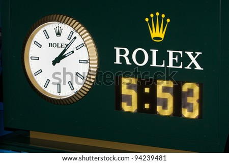 MELBOURNE, AUSTRALIA - JANUARY 29: Clock showing longest Australian Open Men's Final, where Novak Djokovic of Serbia who defeated Rafael Nadal of Spain on January 29, 2012 in Melbourne, Australia - stock photo
