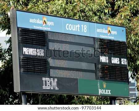 MELBOURNE, AUSTRALIA - JANUARY 21, 2012: Court 18 scoreboard shows a first set score from men's doubles January 21, 2012 in Melbourne Australia. - stock photo
