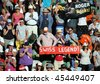 MELBOURNE, AUSTRALIA - JANUARY 27: Crowd cheers for Roger Federer at the 2010 Australian Open at Rod Laver Arena on January 27, 2010 in Melbourne, Australia - stock photo