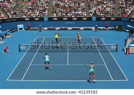 MELBOURNE, AUSTRALIA - JANUARY 24: Doubles match Serena & Venus Williams vs Andrea Hlavackova &  Lucie Hradecka at the 2010 Australian Open on January 24, 2010 in Melbourne, Australia - stock photo