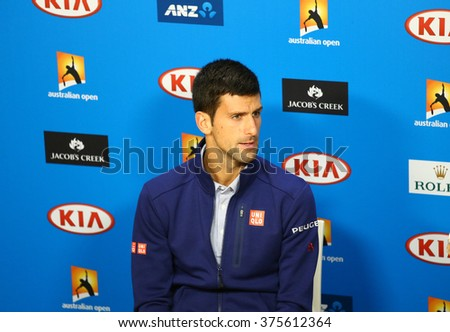 MELBOURNE, AUSTRALIA - JANUARY 31, 2016: Eleven times Grand Slam champion Novak Djokovic during press conference after Australian Open 2016 at Australian tennis center in Melbourne Park - stock photo